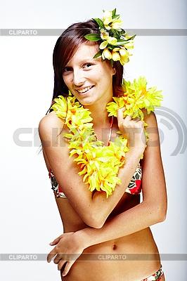 하와이 액세서리와 함께 아름 다운 이국적인 소녀 | 높은 해상도 사진 |ID 3024306