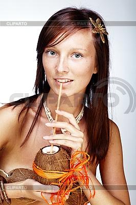 Schöne exotische Frau mit Hawaiischen Zubehöre | Foto mit hoher Auflösung |ID 3024310
