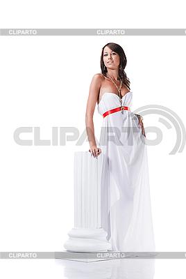 앤티크 스타일에서 흰 드레스를 입고 아름 다운 젊은 여성 | 높은 해상도 사진 |ID 3032453