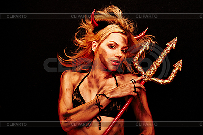 Beautiful devil with trident on black | High resolution stock photo |ID 3032456