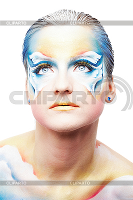 Portraite of beautiful woman with butterfly body painting | High resolution stock photo |ID 3032467