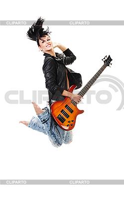 기타와 함께 아름 다운 바위 - 앤 - 롤 소녀 점프   높은 해상도 사진  ID 3032470
