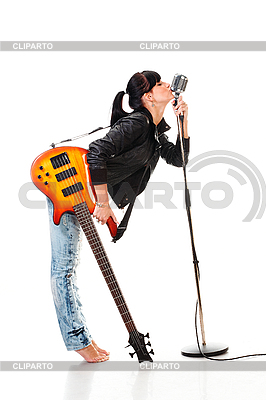 Rock-n-roll girl with guitar kissing retro microphone | High resolution stock photo |ID 3032477