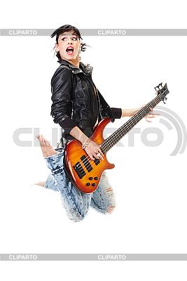 기타와 함께 아름 다운 바위 - 앤 - 롤 소녀 점프   높은 해상도 사진  ID 3032480