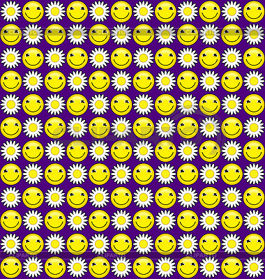 Jednolite tło z uśmiechem i stokrotki | Stockowa ilustracja wysokiej rozdzielczości |ID 3024012