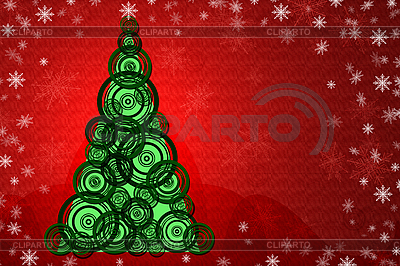 Weihnachtskarte mit Weihnachtsbaum   Illustration mit hoher Auflösung  ID 3024122