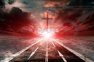 Road on the desert and cross | High resolution stock photo |ID 3026095