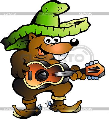 Mexican Wallaby Playing Guitar | Klipart wektorowy |ID 3031663
