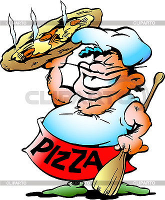 Pizza Baker with giant pizza | Stock Vector Graphics |ID 3031666