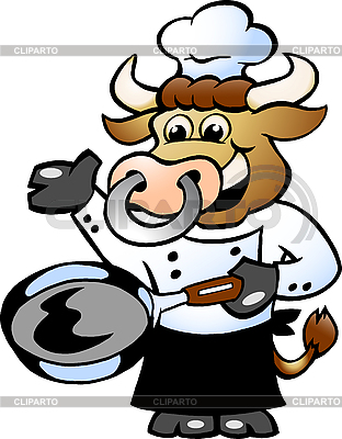 Bull Chef Cook holding Pan | Stock Vector Graphics |ID 3031673