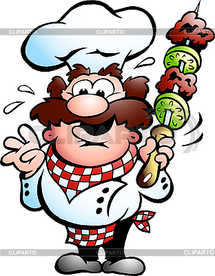Chef with kebab skewer  | Stock Vector Graphics |ID 3031675