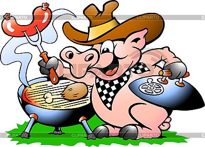 돼지 서 BBQ 만들기 | 벡터 클립 아트 |ID 3031681