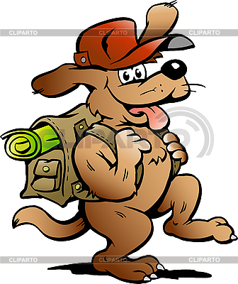 Traveling Backpacker Dog   Stock Vector Graphics  ID 3031773