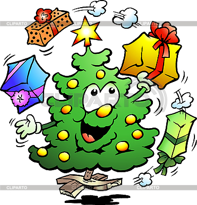 Christmas Tree Juggles Gifts  | Stock Vector Graphics |ID 3104610