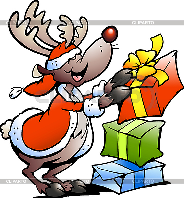 Reindeer with Christmas gifts | Stock Vector Graphics |ID 3104616