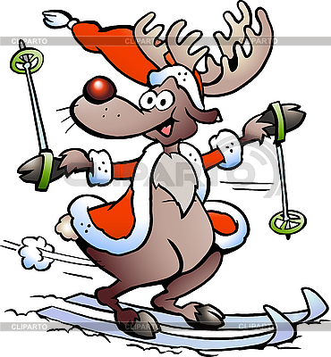Reindeer Skiing | Stock Vector Graphics |ID 3104620