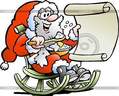 Weihnachtsmann schaut auf Wunschliste | Stock Vektorgrafik |ID 3293751