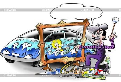 Kreativer Künstler auf dem Auto | Illustration mit hoher Auflösung |ID 3348378