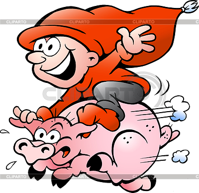 Hand-drawn elf riding on pig | 向量插图 |ID 3370581