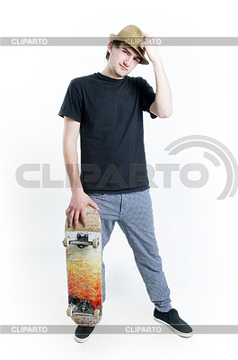 Serious looking teenager with skate   High resolution stock photo  ID 3284406