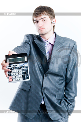 Tired businessman with calculator | 高分辨率照片 |ID 3284423