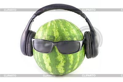 Arbuz z okulary i słuchawki | Foto stockowe wysokiej rozdzielczości |ID 3057283