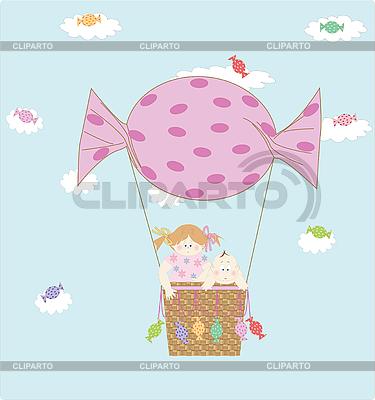 Mädchen und Junge auf dem Ballon | Stock Vektorgrafik |ID 3039470