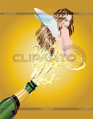 Mädchen fliegt aus der Flasche | Stock Vektorgrafik |ID 3052481