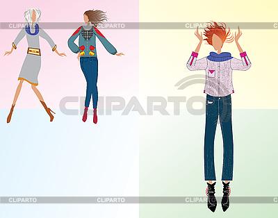 Three girls dressed fashionably | Stock Vector Graphics |ID 3069610