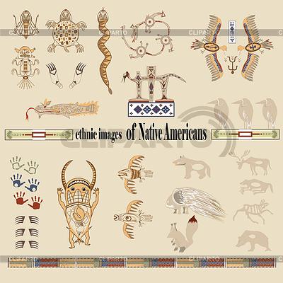 Etnicznych pictographics rdzennych Amerykanów | Klipart wektorowy |ID 3294921