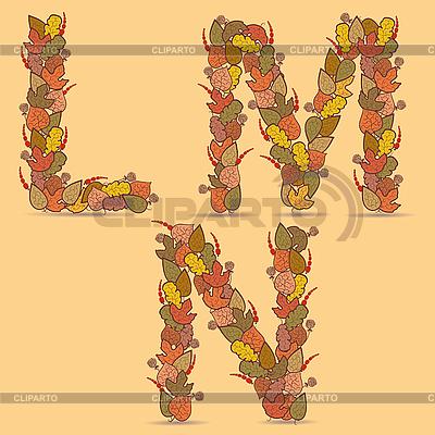 LMN kolorowe litery z liści jesienią | Klipart wektorowy |ID 3076265