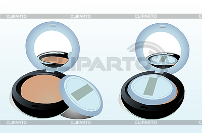 Two boxes of powder with mirror and sponge   Stock Vector Graphics  ID 3046603