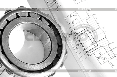 Mechanical drawing and bearing | High resolution stock photo |ID 3061618
