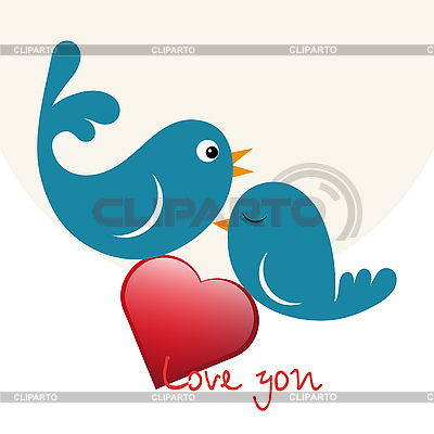 Beautiful birds in love with heart | Stock Vector Graphics |ID 3120643
