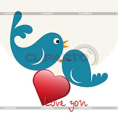 Schöne Vögel in Liebe mit Herz | Stock Vektorgrafik |ID 3120643