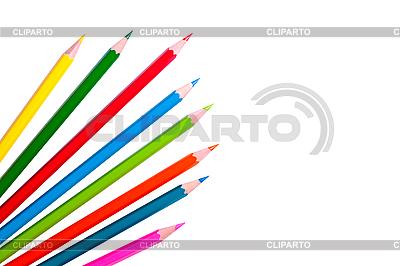 Kolorowe kredki samodzielnie na biały | Foto stockowe wysokiej rozdzielczości |ID 3040502