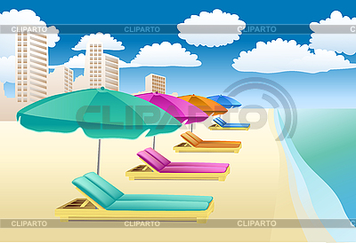 Chairs with uьbrellas on the beach | Stock Vector Graphics |ID 3050498