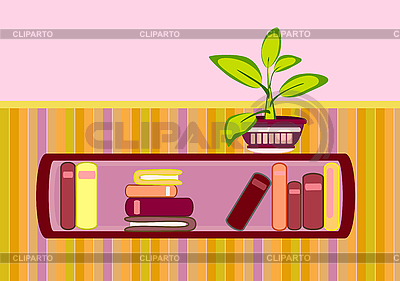 Bookshelf and flower | Stock Vector Graphics |ID 3050517