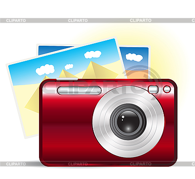 Red camera with travel photos | Stock Vector Graphics |ID 3050543