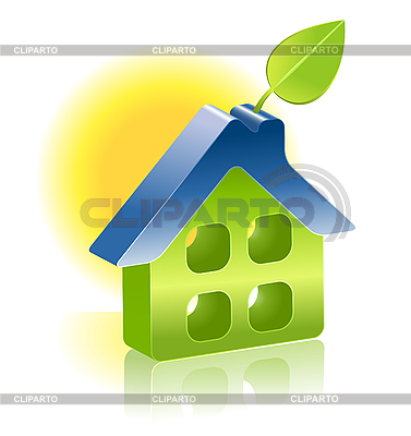 3d house icon with green leaf | Stock Vector Graphics |ID 3050871