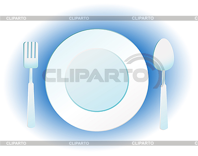 Plate, knife and fork | Stock Vector Graphics |ID 3051047