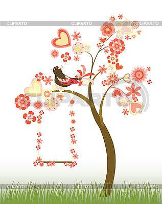 하트와 꽃과 스윙 트리 | 벡터 클립 아트 |ID 3051189