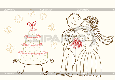 Wedding cake and happy bride and groom | Stock Vector Graphics |ID 3072747