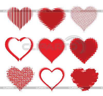 Set of halftone hearts | Stock Vector Graphics |ID 3073111