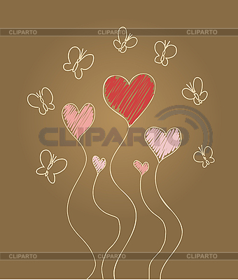Hearts and butterflies | Stock Vector Graphics |ID 3073131