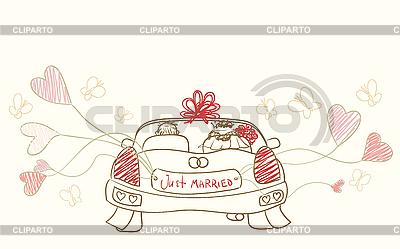 Grußkarte mit Hochzeitsauto | Stock Vektorgrafik |ID 3073259