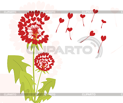 Dandelions with seeds of love | Stock Vector Graphics |ID 3073274