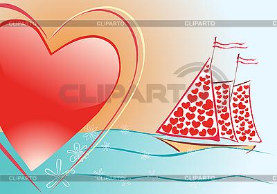 爱的风帆   向量插图  ID 3073854