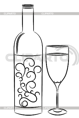 Wine bottle and glass | Stock Vector Graphics |ID 3074689