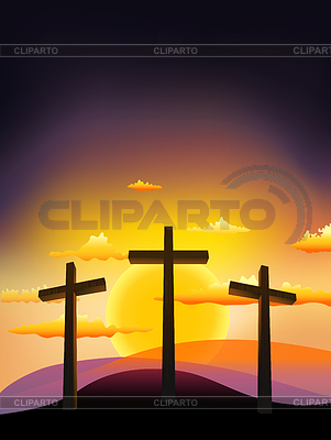 Three crosses on the Calvary at sunset | Stock Vector Graphics |ID 3225908